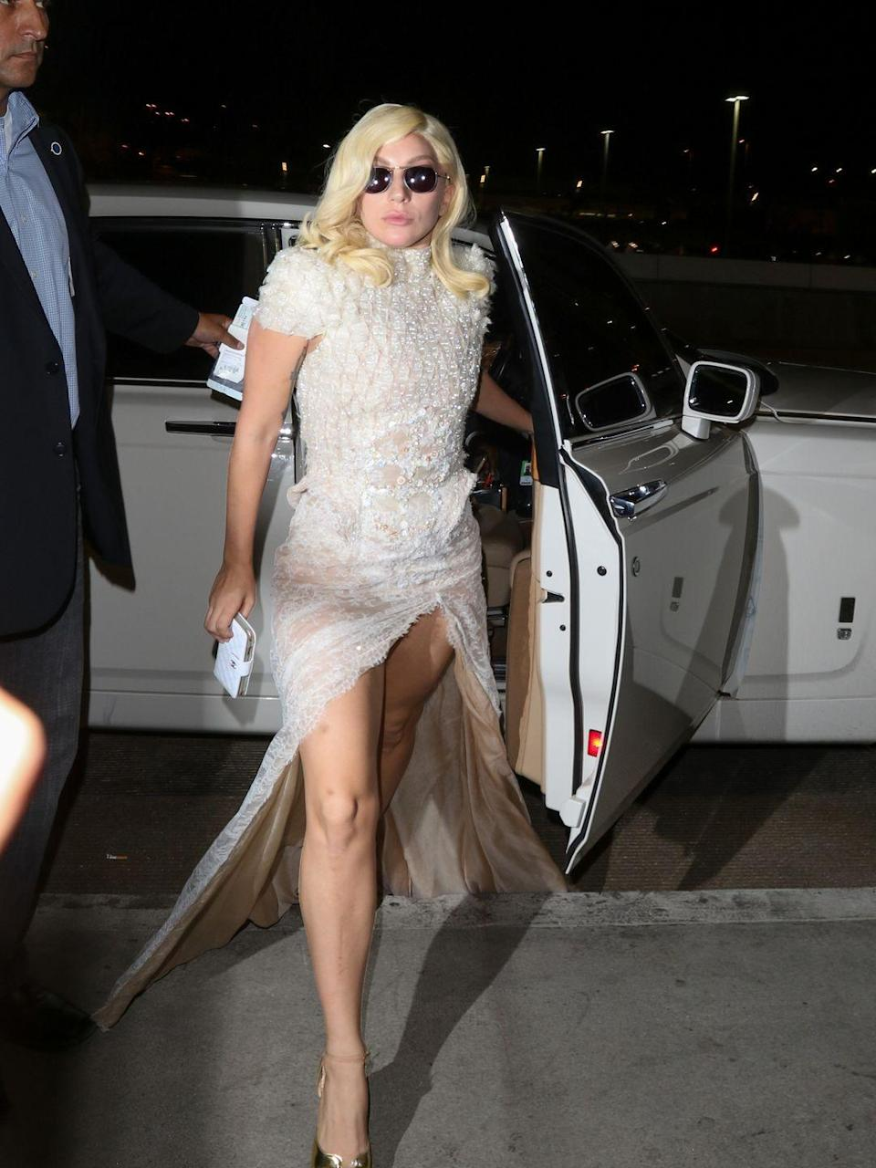 <p><strong>Lady Gaga, 2015:</strong> Impractical train + crotch-baring slit. Double whammy.</p>