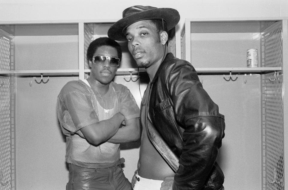"Whodini'sJalil Hutchins (left) and John ""Ecstasy"" Fletcher (right) backstage in 1984. (Photo: Paul Natkin/Getty Images)"