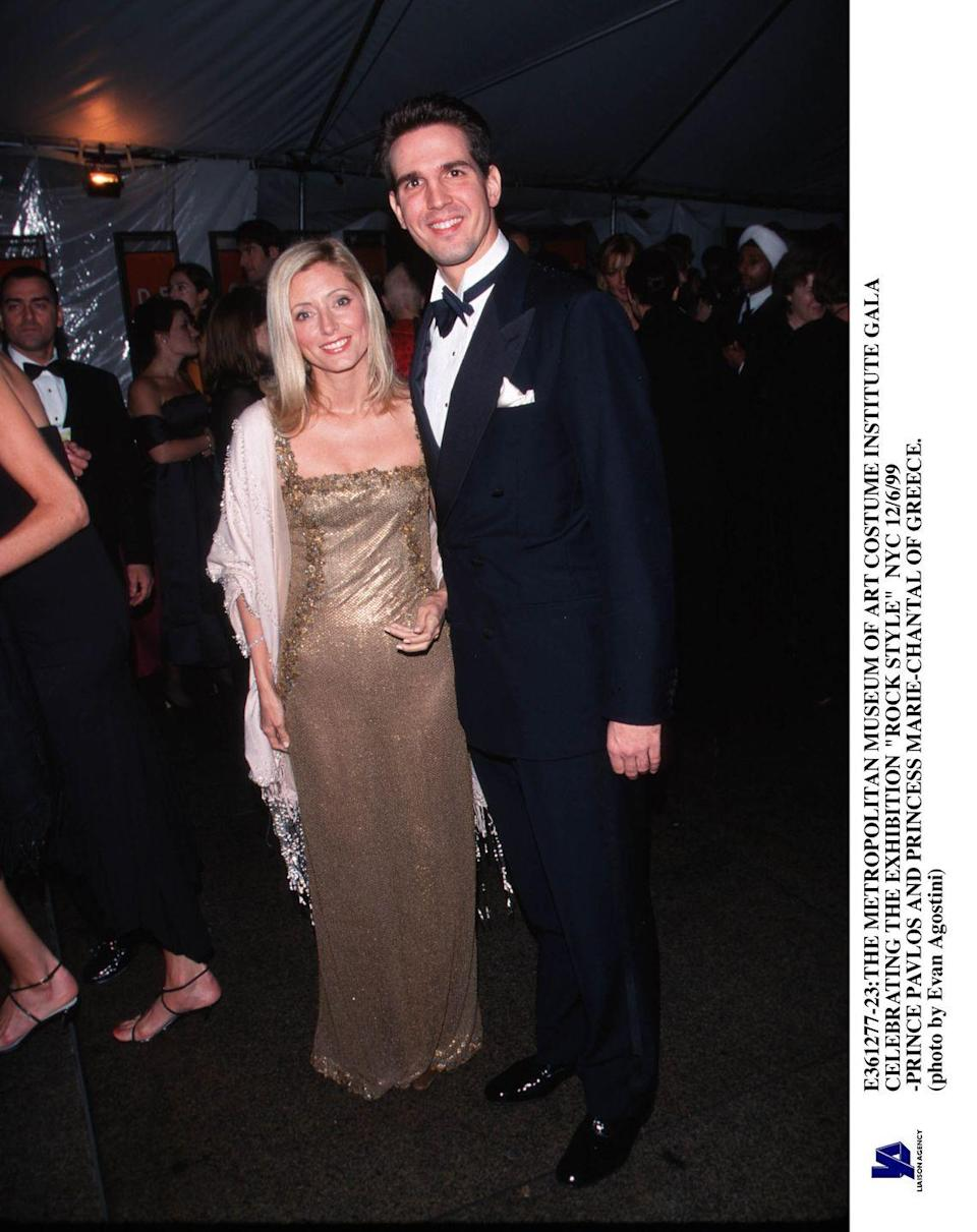 """<p>Wearing a simple gold gown with Prince Pavlos of Greece at the """"Rock Style"""" Met Gala.</p>"""