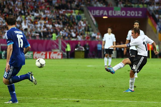 GDANSK, POLAND - JUNE 22: Philipp Lahm of Germany scores their first goal during the UEFA EURO 2012 quarter final match between Germany and Greece at The Municipal Stadium on June 22, 2012 in Gdansk, Poland. (Photo by Michael Steele/Getty Images)