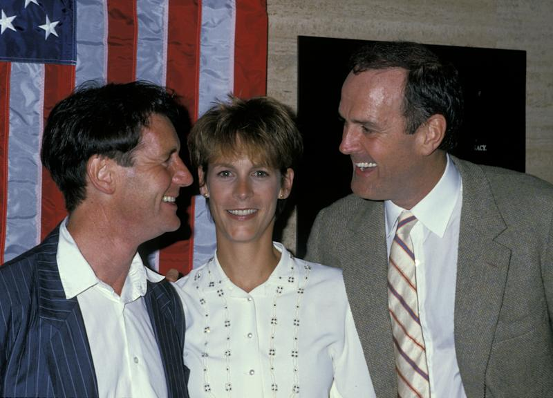 Michael Palin, Jamie Lee Curtis, and John Cleese (Photo by Ron Galella/Ron Galella Collection via Getty Images)