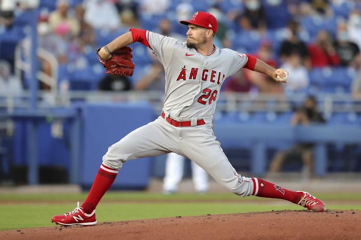 Angels starter Andrew Heaney delivers against the Toronto Blue Jays on April 9, 2021, in Dunedin, Fla.