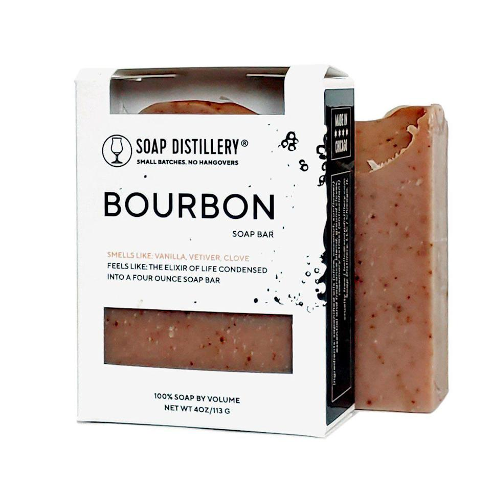 """<p><strong>Soap Distillery</strong></p><p>soapdistillery.com</p><p><strong>$8.00</strong></p><p><a href=""""https://soapdistillery.com/collections/handmade-soaps/products/bourbon-soap-bar"""" rel=""""nofollow noopener"""" target=""""_blank"""" data-ylk=""""slk:Shop Now"""" class=""""link rapid-noclick-resp"""">Shop Now</a></p><p>This is not your average soap bar. Gift this smoky, woodsy, handmade all-over bar made with olive oil and clove for exfoliation. Black-owned shop Soap Distillery also sells a variety of unisex cocktail-scented soaps, so you can pick based on the recipient's fave drink.</p>"""