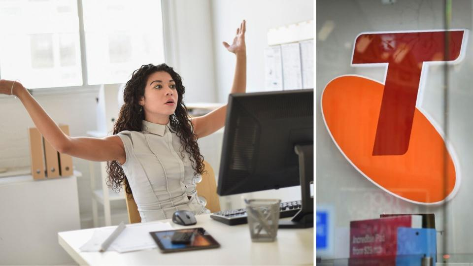 A woman annoyed while sitting at a computer on the left, and a Telstra sign on the right.
