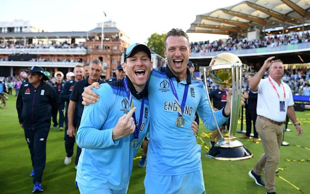 Captain and successor? Eoin Morgan of England and Jos Buttler celebrate - ICC