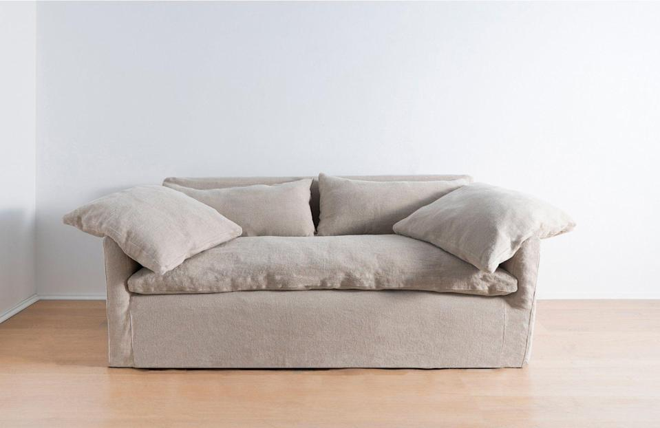 """<p>zzdriggs.com</p><p><strong>$775.00</strong></p><p><a href=""""https://zzdriggs.com/products/donato-sofa-rent?variant=30597185863795"""" rel=""""nofollow noopener"""" target=""""_blank"""" data-ylk=""""slk:Shop Now"""" class=""""link rapid-noclick-resp"""">Shop Now</a></p><p>""""I have to stifle my anxiety whenever a loved one moves and begins filling their new space with cheap furniture, knowing it will end up on the curb in a year. I've started steering them to ZZ Driggs, which allows you to rent, buy, or rent-to-buy, vintage and bespoke furniture including hard-to-move pieces like sofas and dining tables. Perfect for chic nomads everywhere.""""—<em>Olivia Hosken, Style & Interiors Writer</em></p>"""