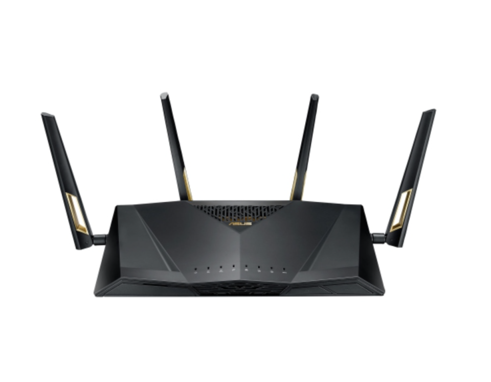 ASUS Wireless Dual-Band Wi-Fi 6 Gaming Router with four prongs in black