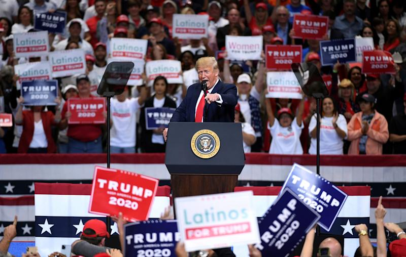 President Donald Trump speaks during a campaign rally, Thursday, Oct. 17, 2019, at the American Airlines Center in Dallas.
