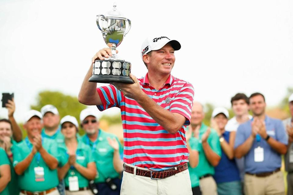 Jim Herman celebrated after winning the PGA Barbasol Championship at Keene Trace Golf Club on July 21, 2019. His best finish this season was a tie for 26th at the Memorial Tournament on June 6.