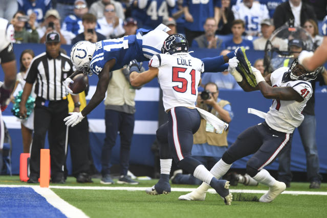 Indianapolis Colts wide receiver Zach Pascal (14) scores against the Texans in the first meeting between the teams this season. (AP Photo/Doug McSchooler)