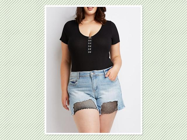 "<p>Plus-size Dollhouse Frayed Denim Shorts With Mesh, $29 (on sale $21), <a href=""https://www.charlotterusse.com/plus-size-dollhouse-frayed-denim-shorts/302513122.html?dwvar_302513122_color=467&cgid=plus-sizes#start=1"" rel=""nofollow noopener"" target=""_blank"" data-ylk=""slk:Charlotte Russe"" class=""link rapid-noclick-resp"">Charlotte Russe</a> (Photo: Charlotte Russe) </p>"