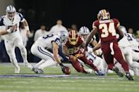 Nov 30, 2017; Arlington, TX, USA; Dallas Cowboys safety Jeff Heath (38) attempts to recover a fumble by Washington Redskins wide receiver Jamison Crowder (80) in the first quarter at AT&T Stadium. Mandatory Credit: Tim Heitman-USA TODAY Sports