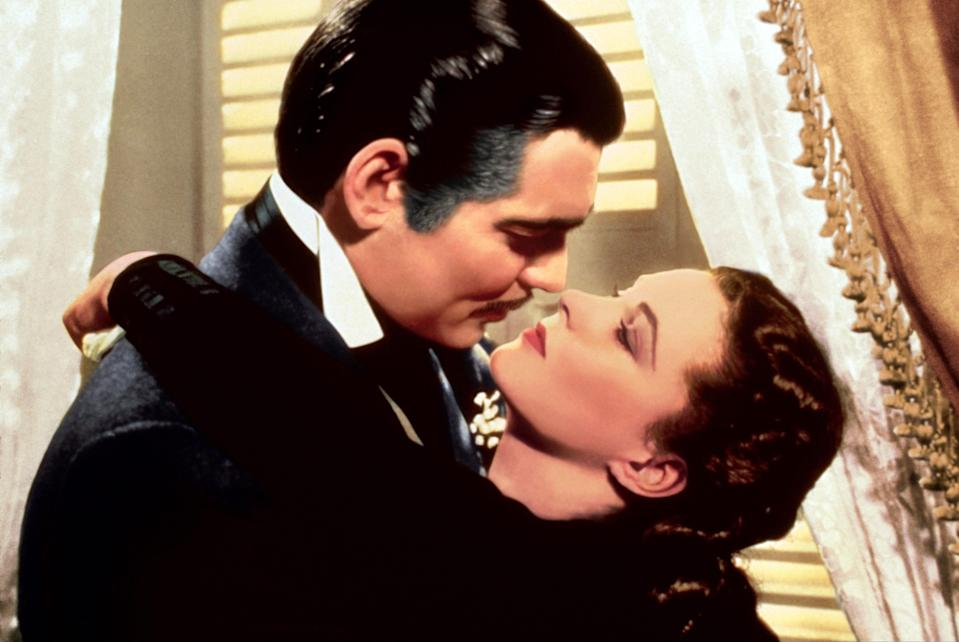 "Clark Gable and Vivien Leigh are the romantic leads of ""Gone With the Wind,"" based on the novel by Margaret Mitchell."