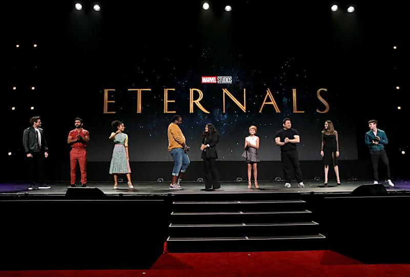 ANAHEIM, CALIFORNIA - AUGUST 24: (L-R) Richard Madden, Kumail Nanjiani, Lauren Ridloff, Salma Hayek, Lia McHugh, Don Lee, Angelina Jolie, and Barry Keoghan of 'The Eternals' took part today in the Walt Disney Studios presentation at D23 EXPO 2019 in Anaheim, Calif. 'The Eternals' will be released in U.S. theaters on November 6, 2020. (Photo by Jesse Grant/Getty Images for Disney)