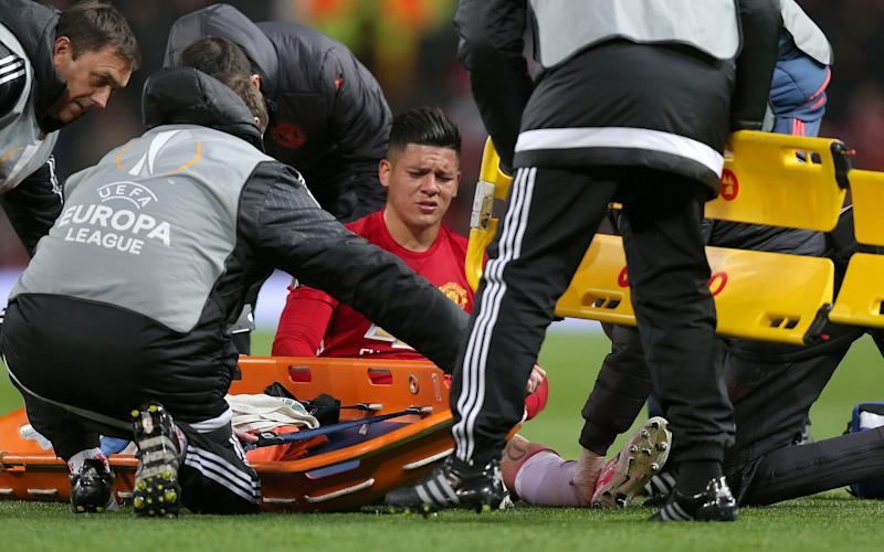 Marcos Rojo -Manchester United confirm Zlatan Ibrahimovic and Marcos Rojo both sustained significant knee ligament damage in Europa League tie - Credit: REX FEATURES