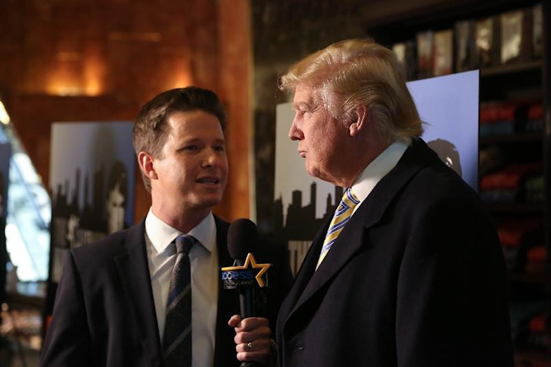 """Billy Bush (L) with the TV show """"Access Hollywood"""" interviews """"Celebrity Apprentice"""" star Donald Trump in 2015 at Trump Tower in New York. Trump made lewd remarks about women in outtakes of an interview with Bush in 2005"""