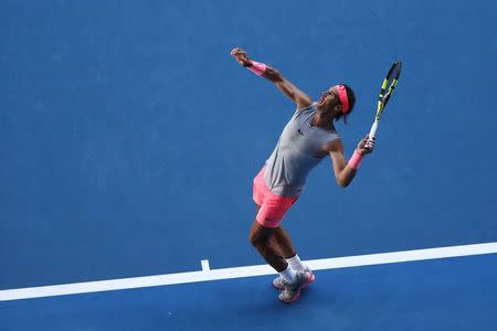 Tennis - Australian Open - Rod Laver Arena, Melbourne, Australia, January 17, 2018. Spain's Rafael Nadal in action during his match against Argentina's Leonardo Mayer. REUTERS/Issei Kato