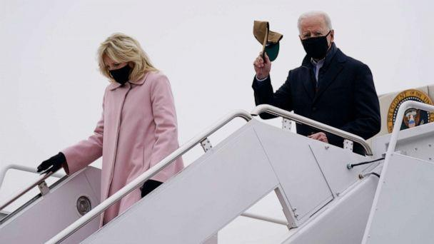 PHOTO: President Joe Biden and first lady Jill Biden arrive at Andrews Air Force Base after spending the weekend at Camp David, Feb. 15, 2021, in Andrews Air Force Base, Md. (Evan Vucci/AP)