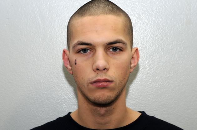Kiaran Stapleton, 21, with a teardrop tattoo on his face. He was found guilty of murdering Indian student Anuj Bidve, 23, at point blank range in Manchester, Britain last year (Rex Features)