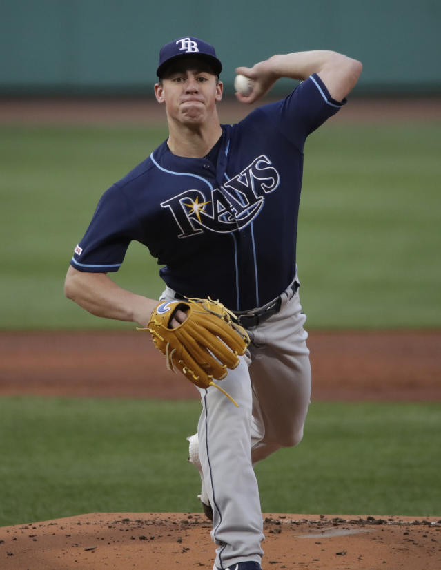 Tampa Bay Rays starting pitcher Brendan McKay delivers to a Boston Red Sox batter during the first inning of a baseball game at Fenway Park, Thursday, Aug. 1, 2019, in Boston. (AP Photo/Elise Amendola)