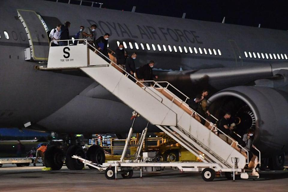A plane lands at RAF Brize Norton, Oxfordshsire, carrying British nationals and Afghans from Kabul (Mark Large/Daily Mail/PA) (PA Wire)
