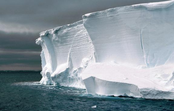 Edge of an ice shelf close to the Halley Station, Antarctica.