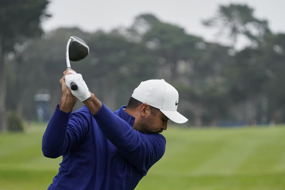 Jason Day of Australia, hits his tee shot on the 10th hole during the first round of the PGA Championship golf tournament at TPC Harding Park Thursday, Aug. 6, 2020, in San Francisco. (AP Photo/Charlie Riedel)