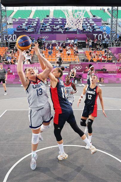 PHOTO: Stefanie Dolson of the United States drives to the basket during the Women's Pool Round match between United States and France on day one of the Tokyo 2020 Olympic Games at Aomi Urban Sports Park on July 24, 2021 in Tokyo, Japan. (Christian Petersen/Getty Images)