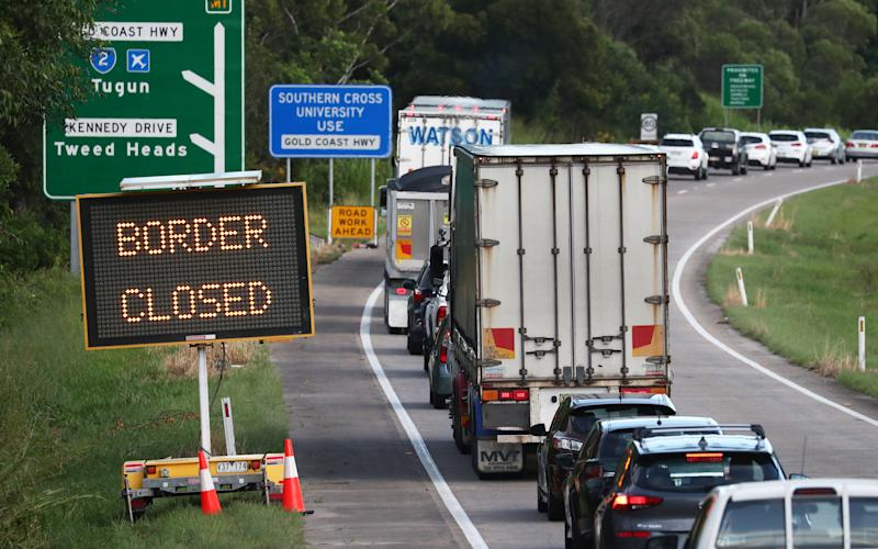 Traffic queued at Queensland's border near Tweed Heads, NSW. Source: AAP