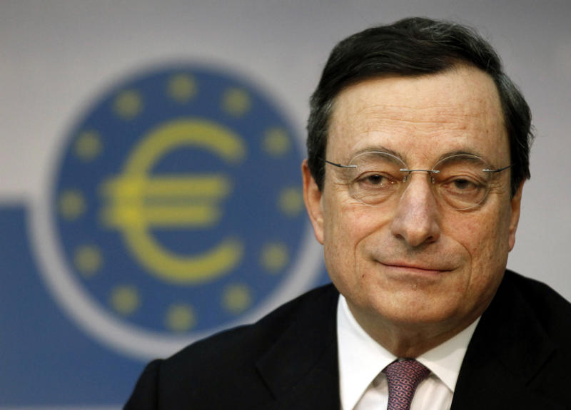 "President of the European Central Bank Mario Draghi attends a news conference in Frankfurt, Thursday, March 8, 2012. The European Central Bank left its key interest rate unchanged Thursday at a record low of 1 percent, holding off on further measures to boost the shaky economy in the 17 countries that use the euro. Draghi said the eurozone economy is showing ""signs of stabilization"" and dropped the word ""tentative"" from last month's assessment of the steadying economy, making his outlook slightly less pessimistic. (AP Photo/dapd, Mario Vedder)"