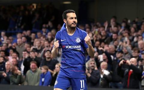 Chelsea's Pedro celebrates scoring his side's first goal of the game during the UEFA Europa League quarter final second leg match at Stamford Bridge, London - Credit: PA