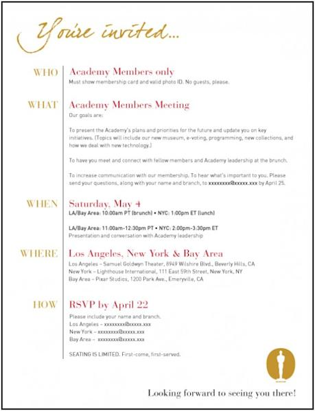 Academy Gives Details Of Its May Membership Meeting