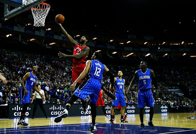 LONDON, ENGLAND - JANUARY 14: James Johnson #3 of the Toronto Raptors in action during the 2016 NBA Global Games London match between Toronto Raptors and Orlando Magic at The O2 Arena on January 14, 2016 in London, England. (Photo by Clive Rose/Getty Images)