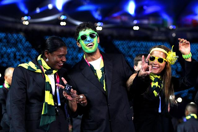 LONDON, ENGLAND - AUGUST 29: Athletes from Brazil soak up the atmopshere during the Opening Ceremony of the London 2012 Paralympics at the Olympic Stadium on August 29, 2012 in London, England. (Photo by Dan Kitwood/Getty Images)