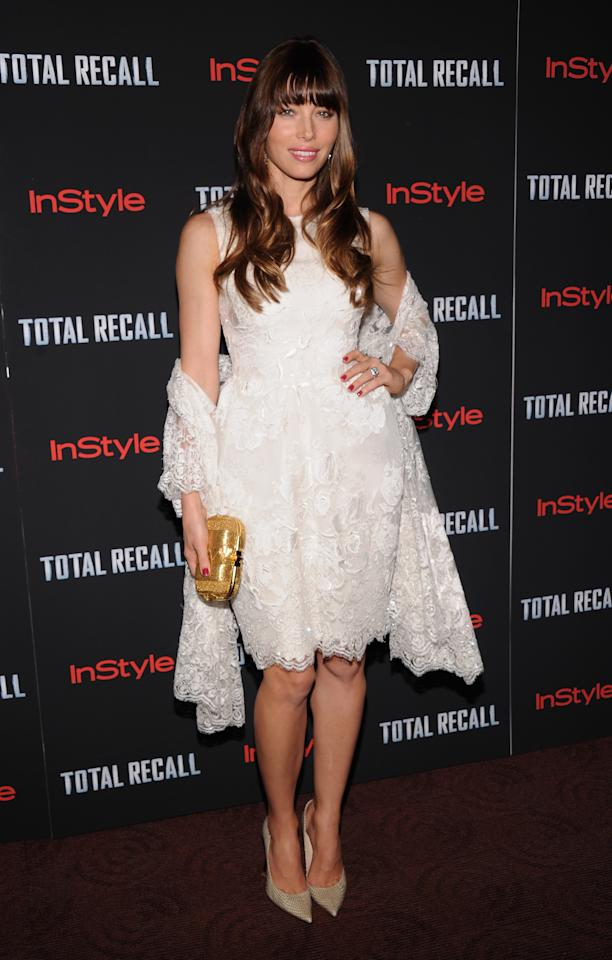 """NEW YORK, NY - AUGUST 02: Jessica Biel attends the """"Total Recall"""" New York Premiere at Chelsea Clearview Cinemas on August 2, 2012 in New York, United States.  (Photo by Jamie McCarthy/Getty Images)"""