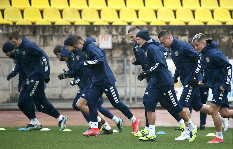 SOCHI, RUSSIA - MARCH 20, 2021: Players of the Russian national football team during a training session ahead of 2022 FIFA World Cup qualifying matches at the Yug Sport training center. The Russian team is to play against Malta on March 24, against Slovenia on March 27, and against Slovakia on March 30. Dmitry Feoktistov/TASS (Photo by Dmitry Feoktistov\TASS via Getty Images)