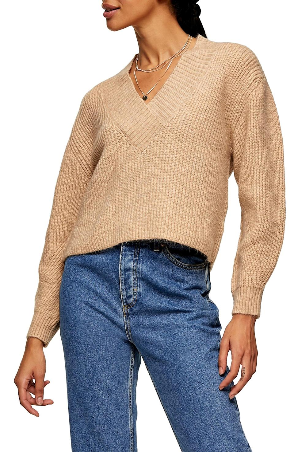 <p><span>Topshop Rib V-Neck Sweater</span> ($21, originally $50)</p>