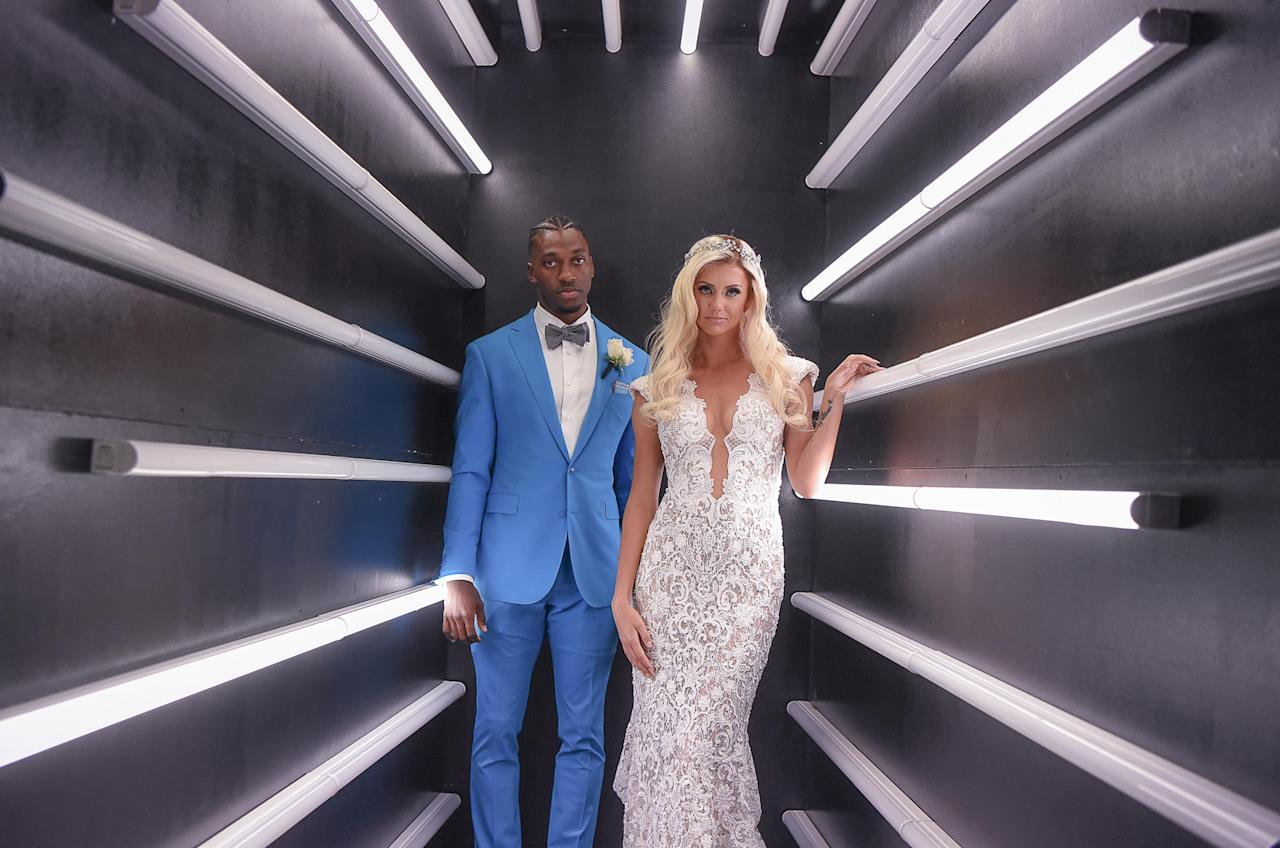 """<p><a rel=""""nofollow"""" href=""""http://people.com/sports/nfl-robert-griffin-marries-grete-sadeiko/"""">The quarterback married Šadeiko</a> in an extravagant wedding in Miami, Florida, on March 10 among family and friends. Griffin shared photos of their big day on Instagram, including one photo of the couple in a room created by hanging crystals with a perspex floor with white roses on top and purple lights within to match their wedding's color scheme.  """"First name Grete, Last name Griffin. All I ever wanted to be for you is your hero. It turns out that all along, you were mine,"""" RGIII – who wore a blue suit with a bow tie and silver Christian Louboutins – wrote in the caption.""""</p>"""
