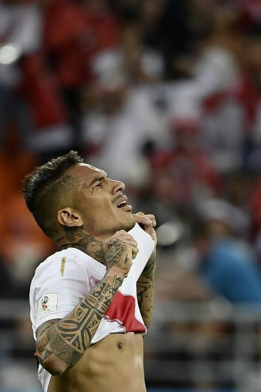 Peru's forward Paolo Guerrero reacts after failing to score during the Russia 2018 World Cup Group C football match between Peru and Denmark at the Mordovia Arena in Saransk on June 16, 2018
