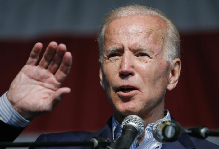 Former Vice President Joe Biden speaks at the Iowa Democratic Wing Ding at the Surf Ballroom in Clear Lake, Iowa, on Friday. (AP Photo/John Locher)