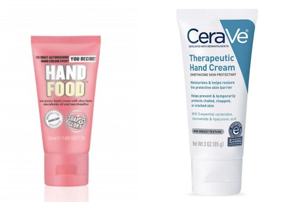 """<a href=""""https://www.soapandglory.com/us/products/hand-food-trade-mini"""">Soap & Glory's Hand Food Cream</a> and<a href=""""https://www.cerave.com/skincare/moisturizers/therapeutic-hand-cream""""> CeraVe's Therapeutic Hand Cream</a> (Photo: Soap & Glory/CeraVe)"""
