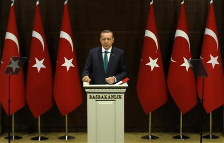 Turkish PM Erdogan addresses media in Ankara