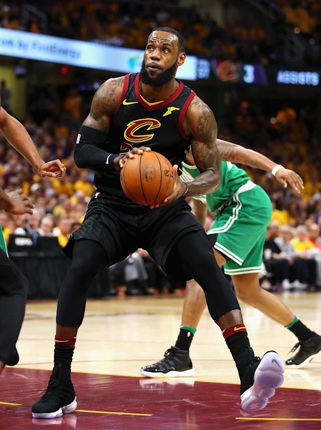 CLEVELAND, OH - MAY 19: LeBron James #23 of the Cleveland Cavaliers handles the ball in the first half against the Boston Celtics during Game Three of the 2018 NBA Eastern Conference Finals at Quicken Loans Arena on May 19, 2018 in Cleveland, Ohio. (Photo by Gregory Shamus/Getty Images)