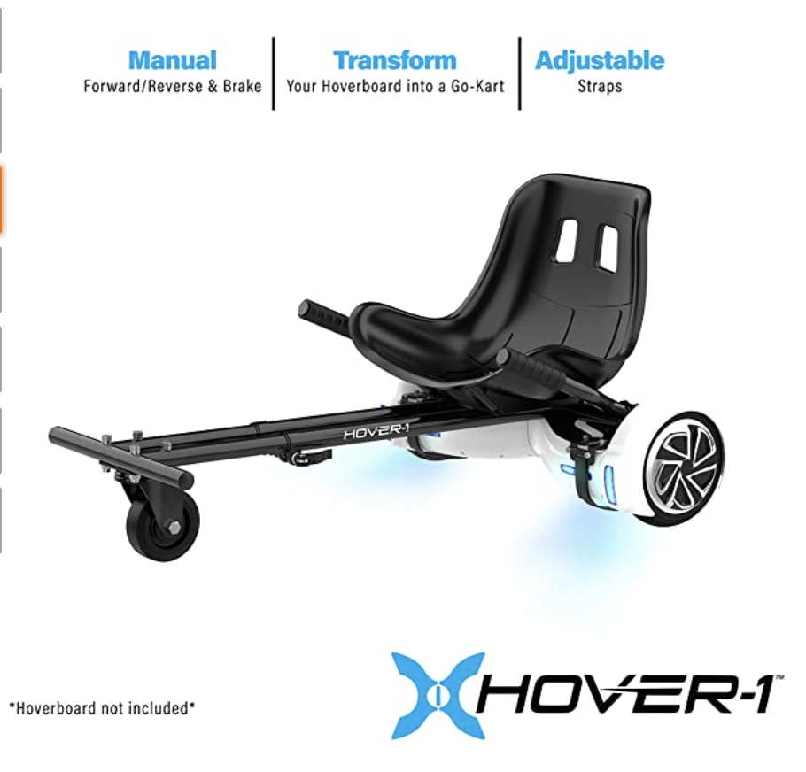 PHOTO: Amazon. Hover-1 Buggy Attachment for Transforming Hoverboard Scooter into Go-Kart