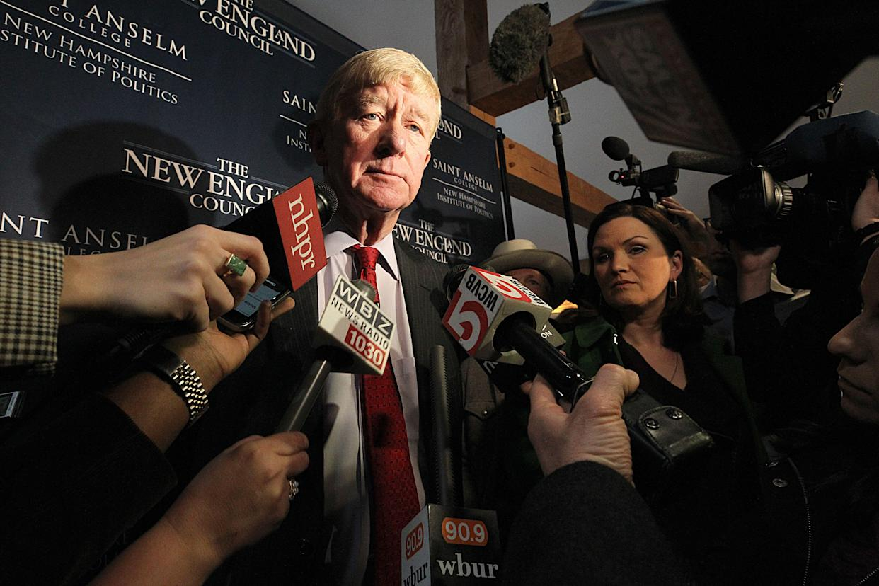 Former Massachusetts Gov. William Weld speaks to the media in Bedford, N.H., in February. (Photo: Suzanne Kreiter/The Boston Globe via Getty Images)