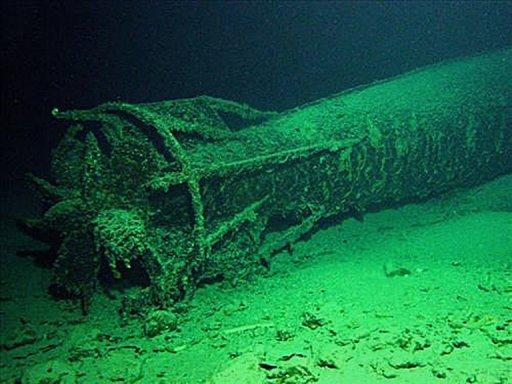 Wreck of a World War II M24 Japanese midget submarine, at the bottom of Sydney Harbour, pictured in 2007