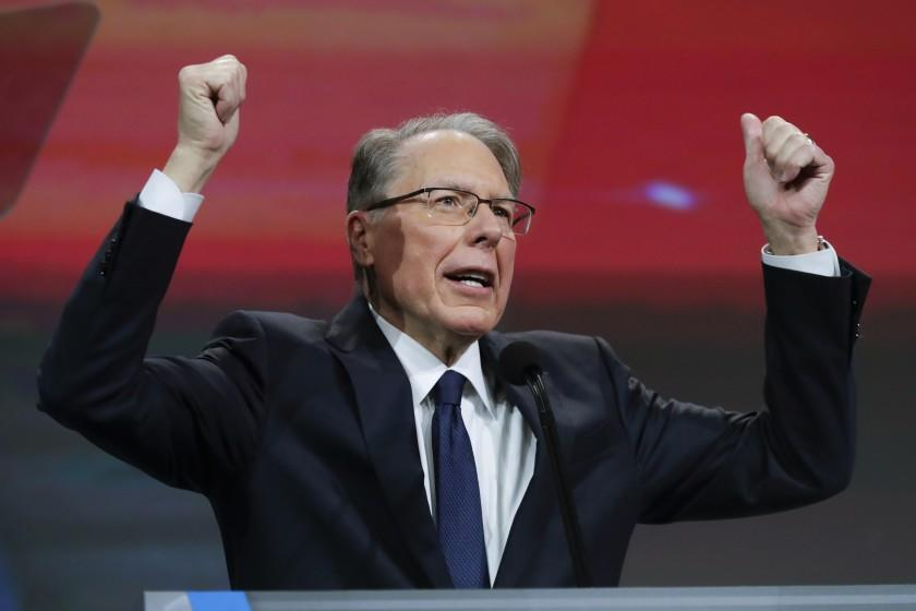 FILE - In a April 27, 2019 file photo, National Rifle Association Executive Vice President Wayne LaPierre speaks at the NRA Annual Meeting of Members in Indianapolis. In the latest national furor over mass killings, the tremendous political power of the NRA is likely to stymie any major changes to gun laws. The man behind the organization is LaPierre, the public face of the Second Amendment with his bombastic defense of guns, freedom and country in the aftermath of every mass shooting. (AP Photo/Michael Conroy, File)