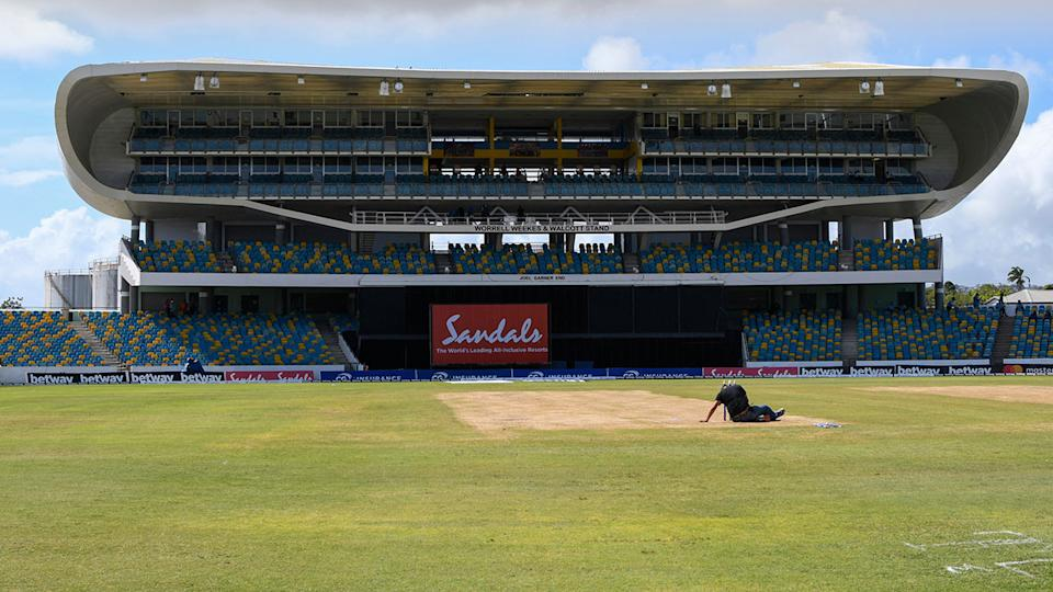 Kensington Oval, pictured here after the second ODI between Australia and West Indies was called off.