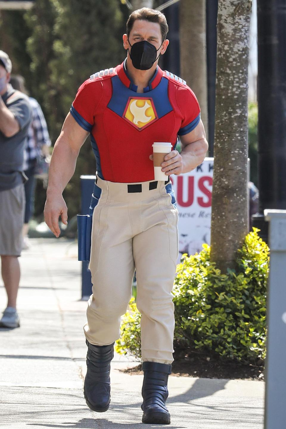 <p>John Cena is spotted in costume on the set of HBO's <em>The Peacemaker</em> on Thursday in Vancouver.</p>