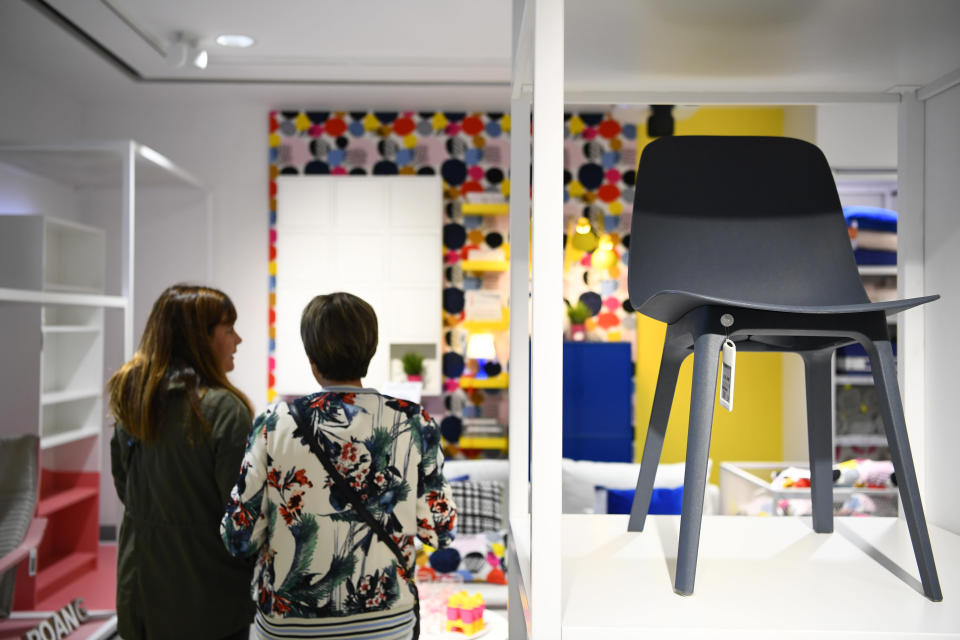Women visit a store of the Swedish furniture giant Ikea in Madrid city center on October 10, 2018.